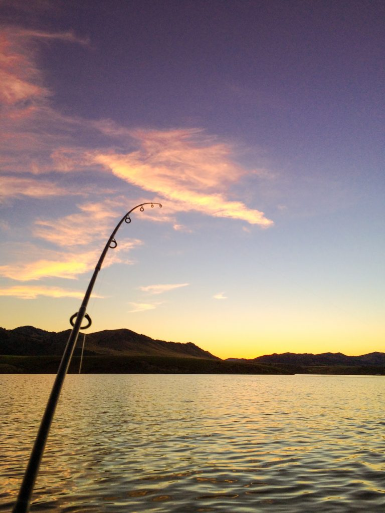 Fishing on Holter Lake at Sunset