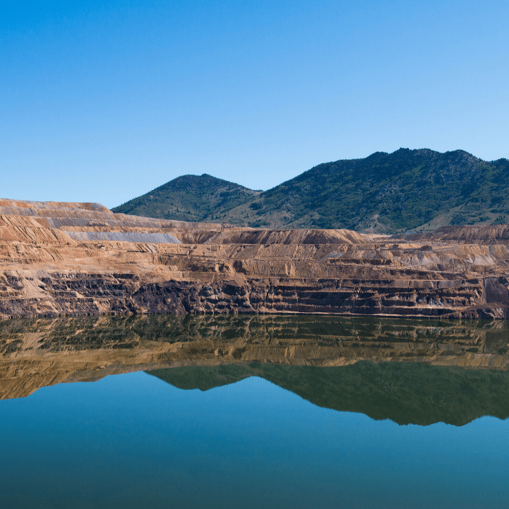 Berkeley Pit, the site of a former open mine near Butte, Montana