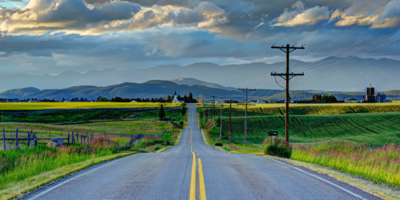 Country road in Kalispell, Montana