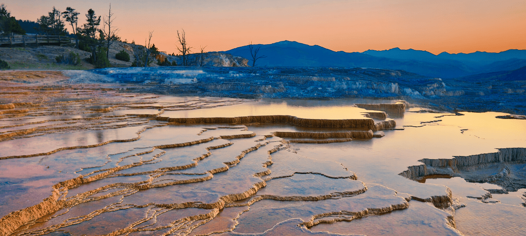 Mammoth Hot Springs in Yellowstone National Park at sunset