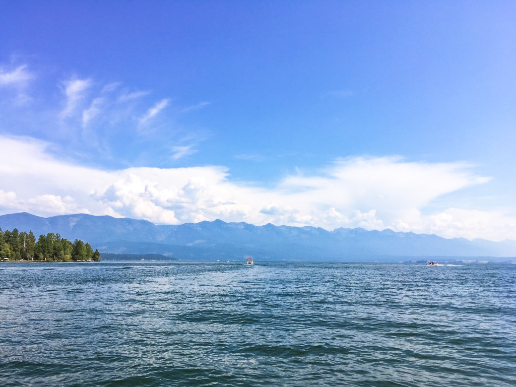 The view from a speedboat on Flathead Lake.